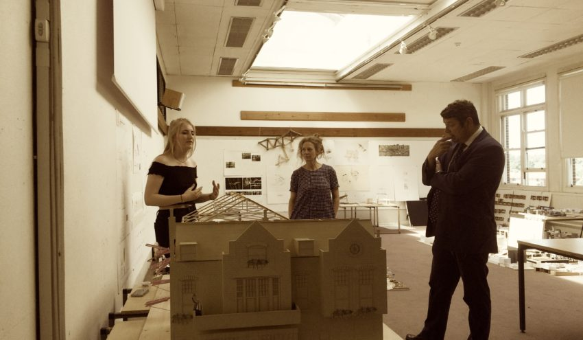 Piers Latham Deputy Head Of School Kate Cheyne And Interior Architecture Student Alisha Gould