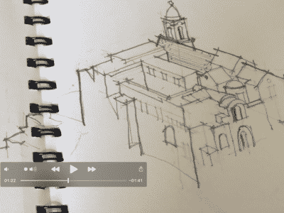 Image taken from Isobel Creed's Desert Island Drawing film of her husband, architect Jim Creed's holiday sketch.